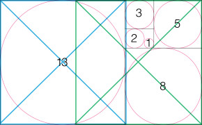 Fibonacci Sequence with Diagonals overlay for composition