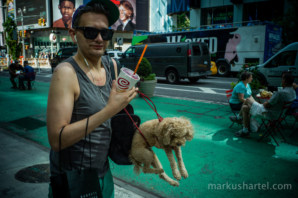 hipster carrying a dog in Times Square, New York City