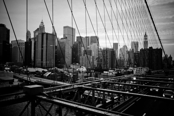 View to Manhattan from the Brooklyn Bridge