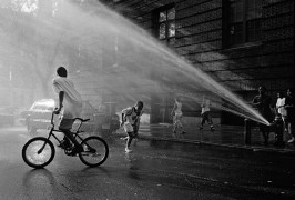 Kids playing in the water spray of a fire hydrant