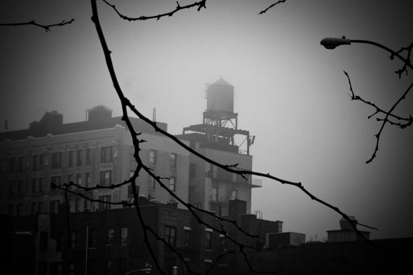 water towers on Manhattan rooftops